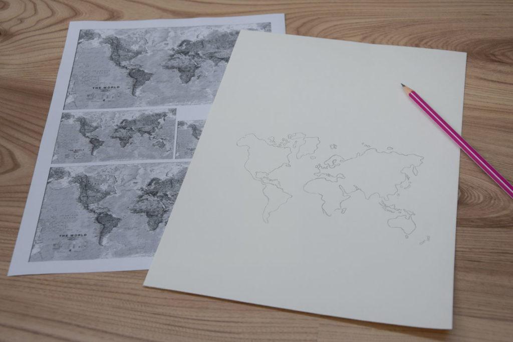 Handlettering Welt entdecken Weltkarte aufgezeichnet