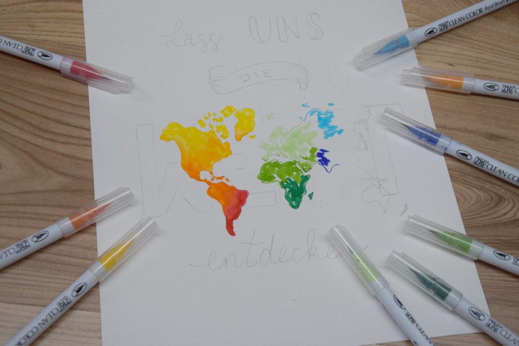 Handlettering Welt entdecken Weltkarte ausmalen
