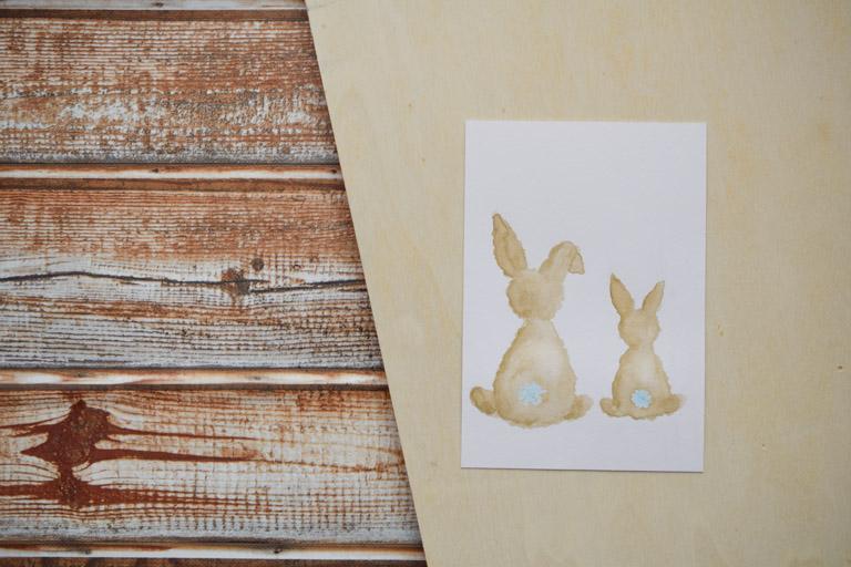 DIY Osterkarte mit süßem Hasenmotiv - Osterhasen mit Farbe gefüllt