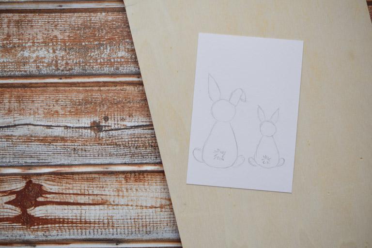 DIY Osterkarte mit süßem Hasenmotiv - Hasen vorzeichnen