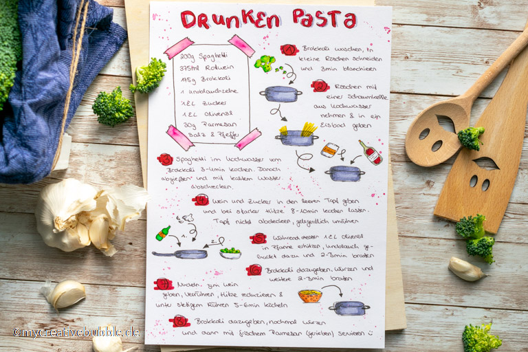 Handlettering Rezept Drunken Pasta